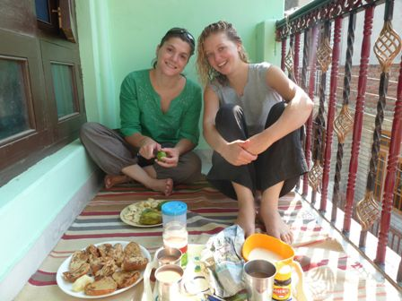 Breakfast on the balcony with Alycia and Christelle