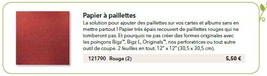 Papiers à paillettes rouge - Mini printemps 121790