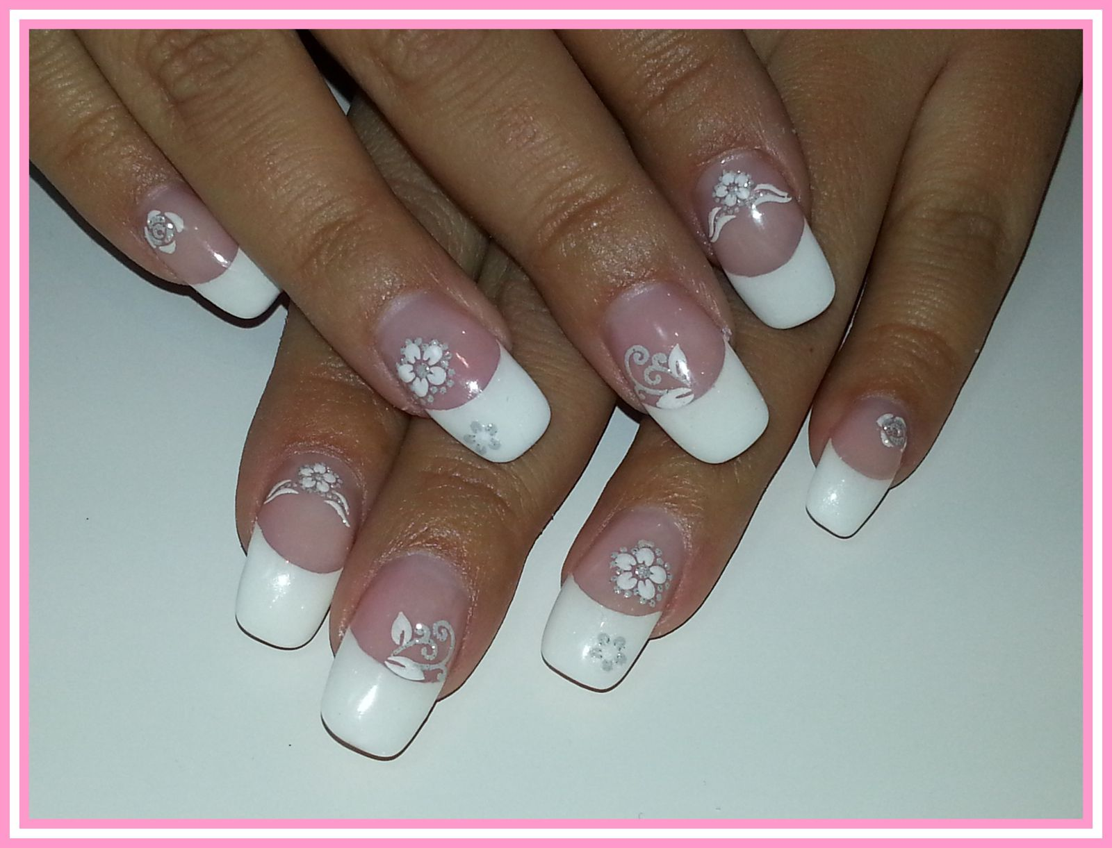 French blanche + stickers fleurs blanches