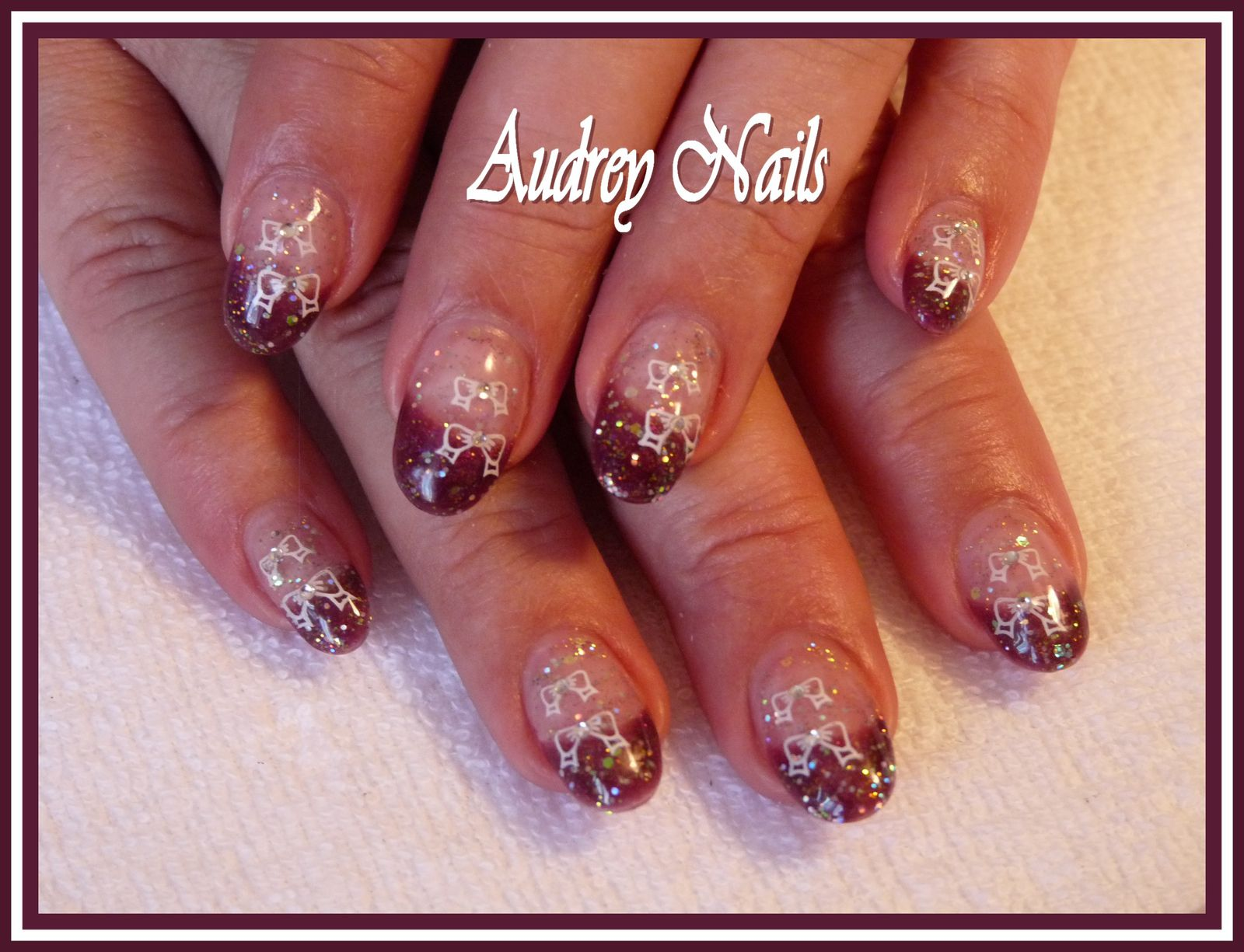 French golden pailleté + stamping double noeud