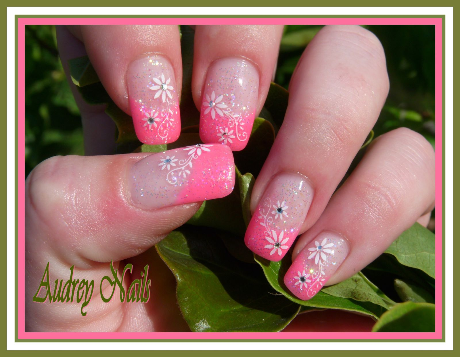 French rose fluo et stamping fleurs