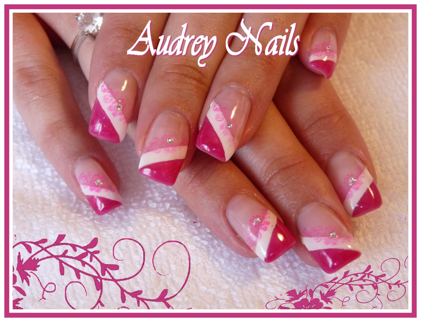 double french rose et blanc + stamping rose