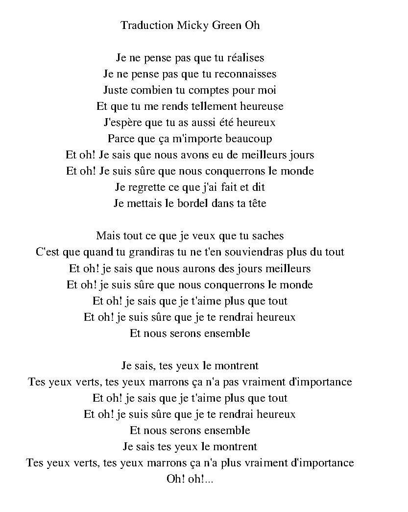 Traduction Micky Green Oh