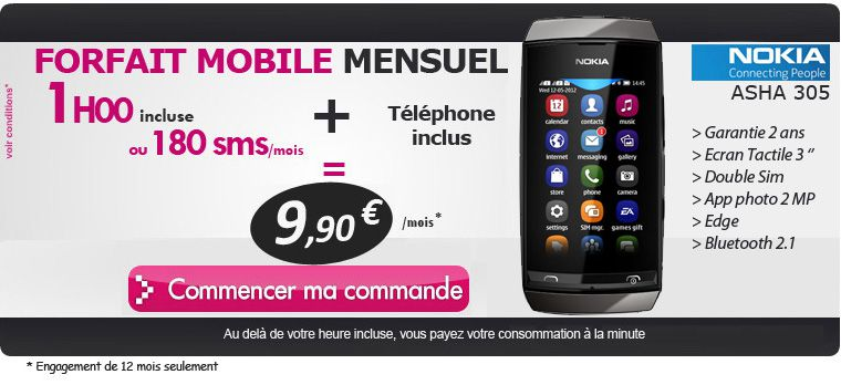 forfait pas cher avec nokia asha 305 inclus le blog bon plan mobile bon plan smartphone et. Black Bedroom Furniture Sets. Home Design Ideas