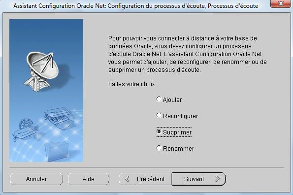 Suppression du Listener Oracle