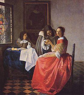 La Jeune Fille au verre de vin (Dame en twee heren) - Vermeer