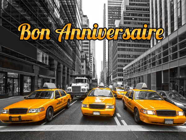 Carte anniversaire taxis New Yorkais