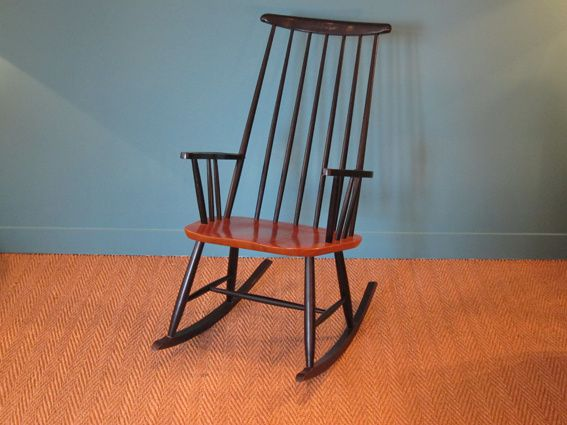 rocking chair scandinave 1950 roland rainer coin canal. Black Bedroom Furniture Sets. Home Design Ideas