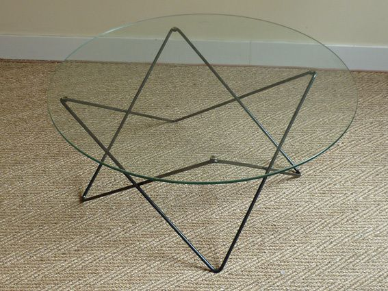 Table basse 1960 airborne coin canal - Table basse metal ronde ...