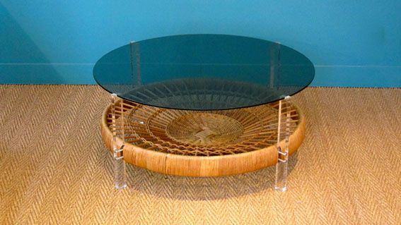 Table basse osier:verre
