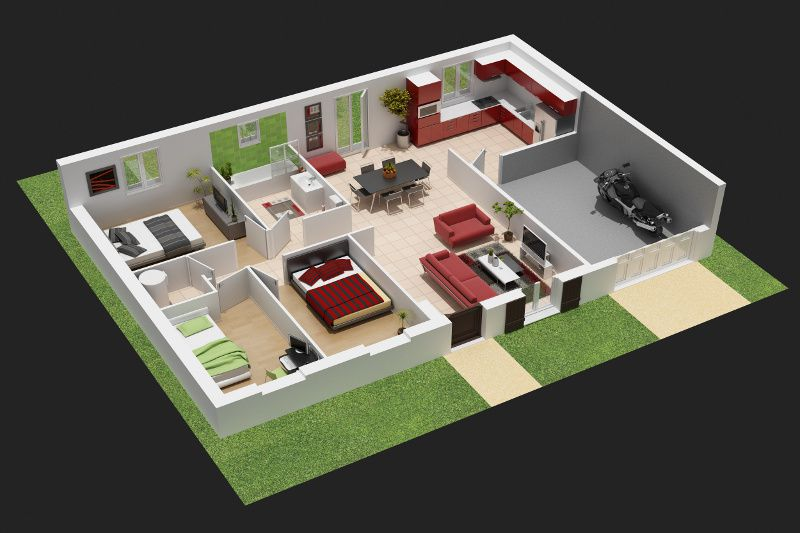 Plan De Maison Simple 3 Chambres En 3d : Les premieres demarches le de guy et emy