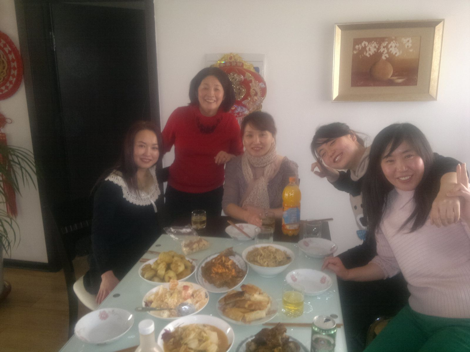 Surrounded by women having a New year lunch