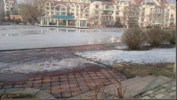 The ice on the lake is melting also