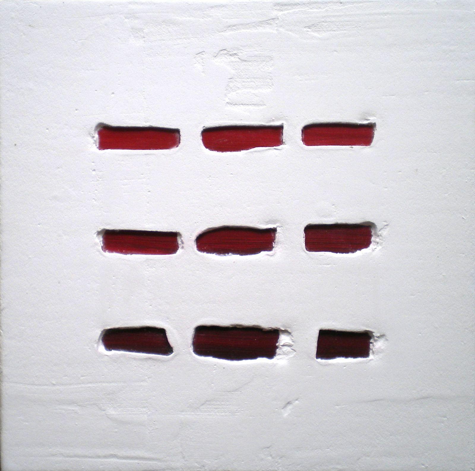 """Série """"Compositions rouges """" © Mā Thévenin - Technique mixte (Plâtre, bois, fils de coton...) - Dim 25x25 cm"""