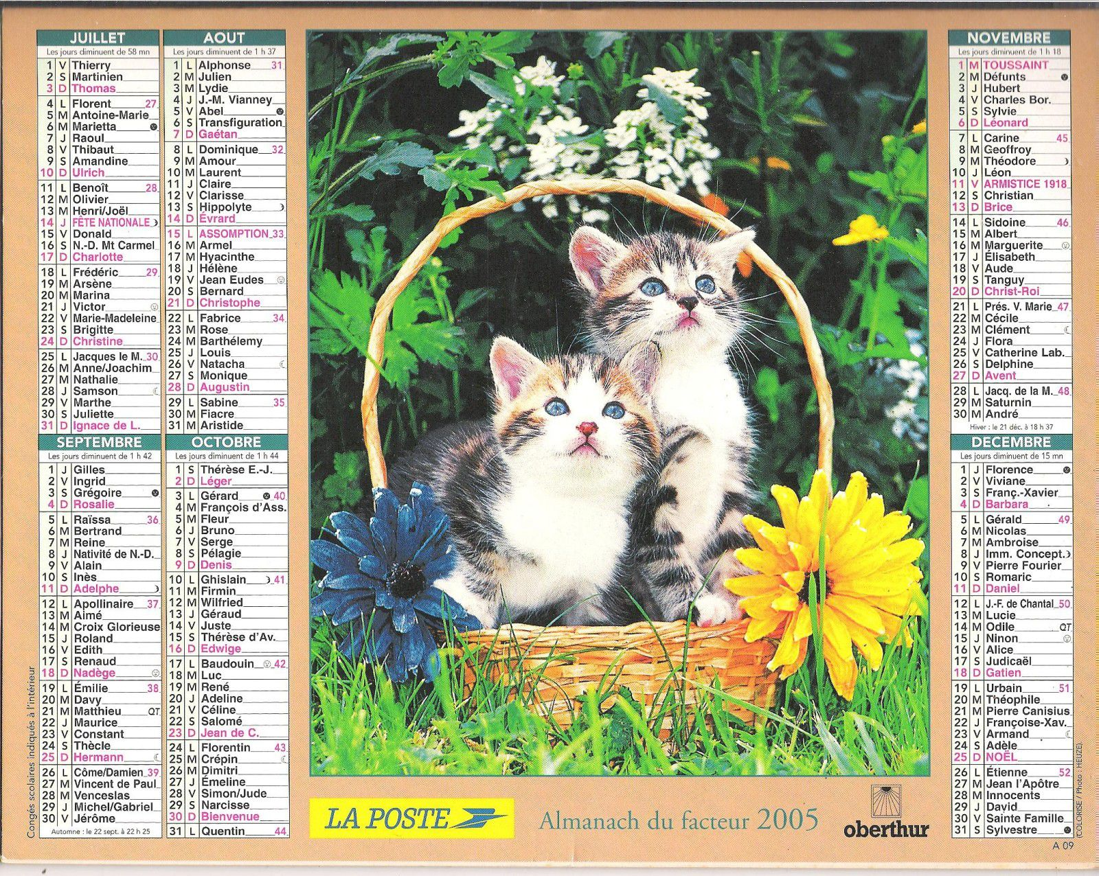 Calendrier Poste.Calendriers Anciens Serie 3 Annees 2003 A 2007 Mes
