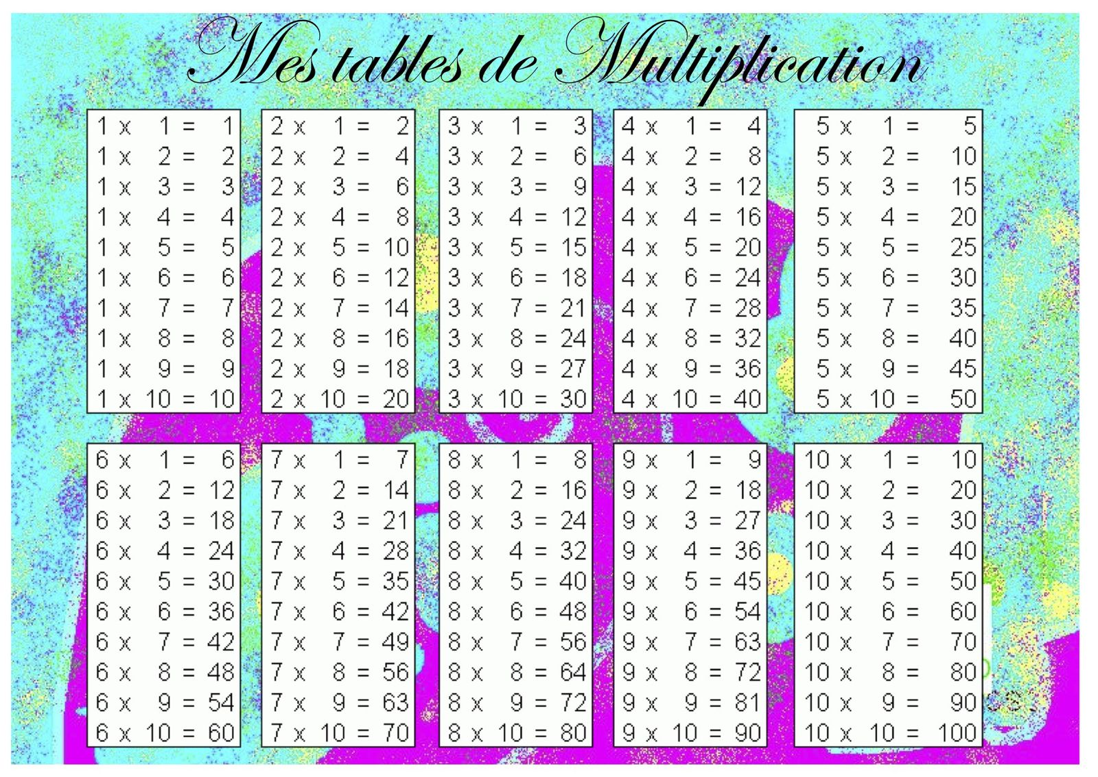 Table multiplication new calendar template site for Table de multiplication