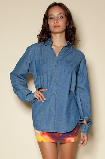 colleen denim shirt mid blue half 26460