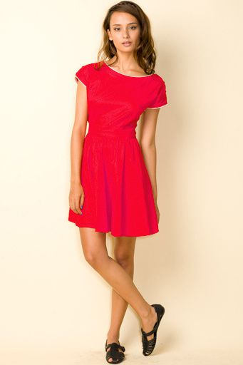 gemma dress plain red full 22570