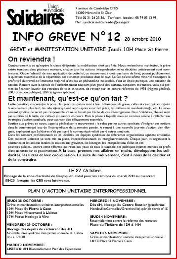 Info grève Calvados N°12