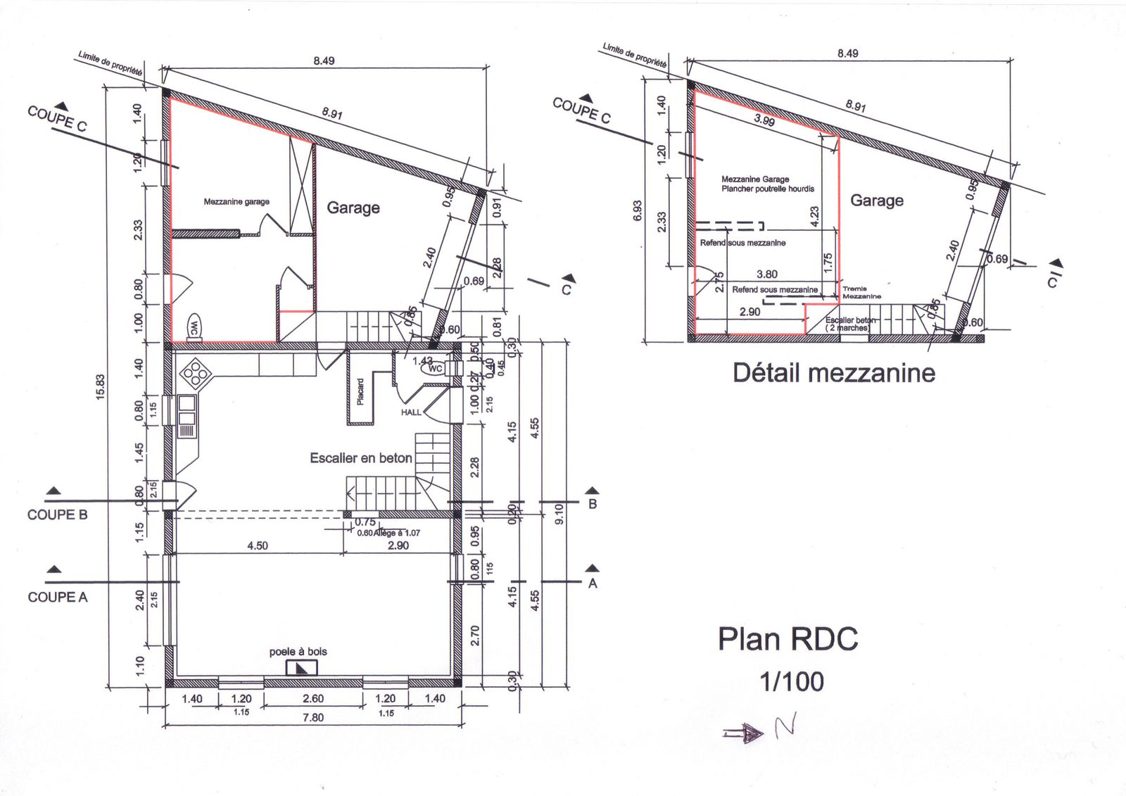 Autoconstruction appel aux b n voles seul dans la for Garage mezzanine plans