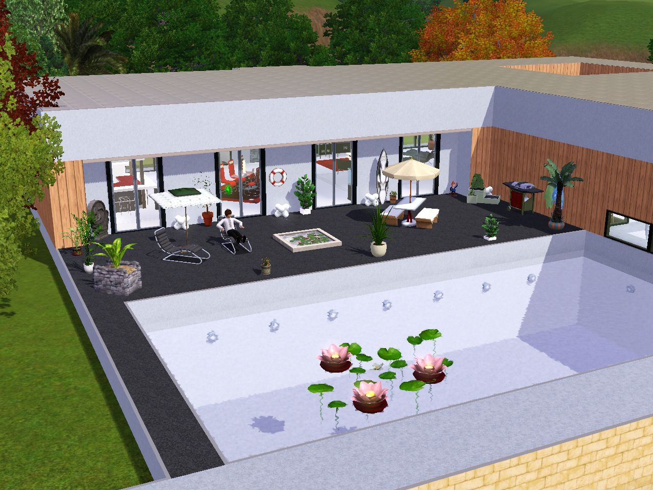 Terrasse couverte sims 3 for Modele maison moderne sims 4