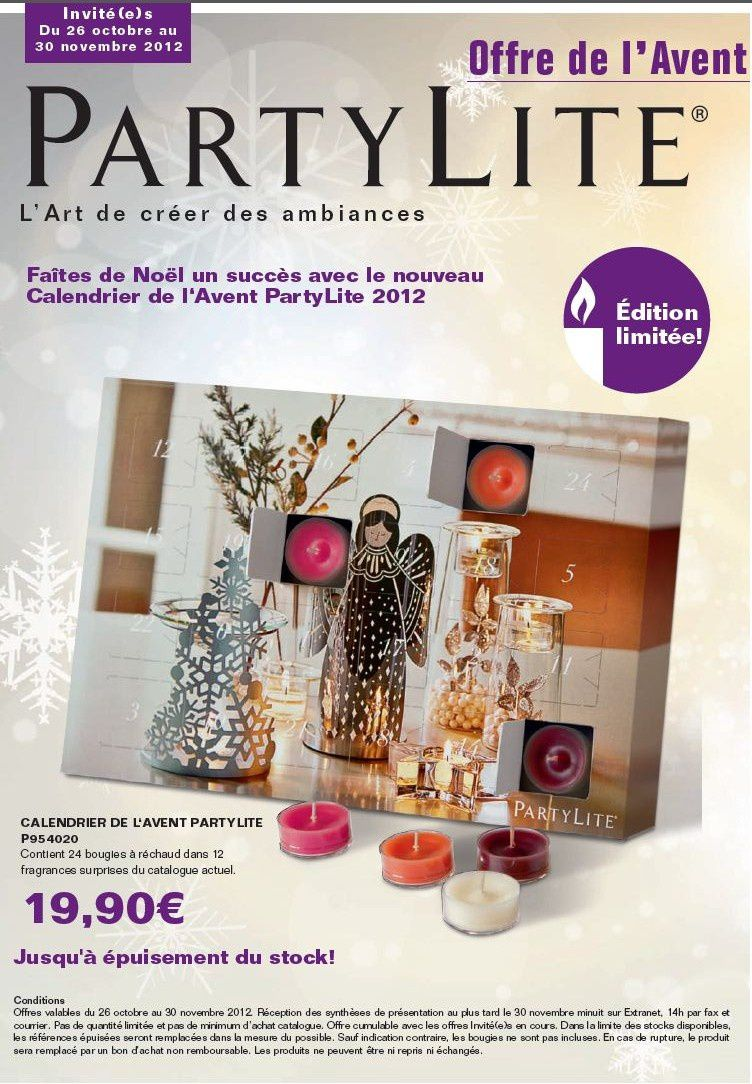 surprise le 26 oct 12 calendrier de l 39 avent partylite bienvenue sur le blog de c cile. Black Bedroom Furniture Sets. Home Design Ideas