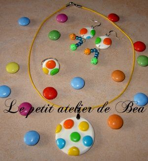 collier boucle bague fa on smarties fimo tutoriel en images le petit atelier de b a. Black Bedroom Furniture Sets. Home Design Ideas