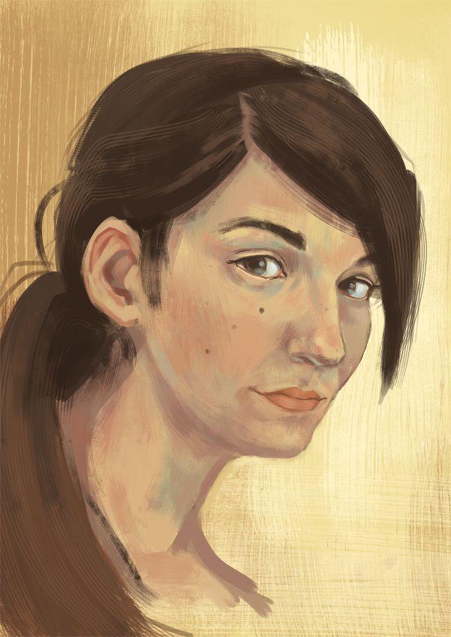 Divers autoportrait digital painting detail0