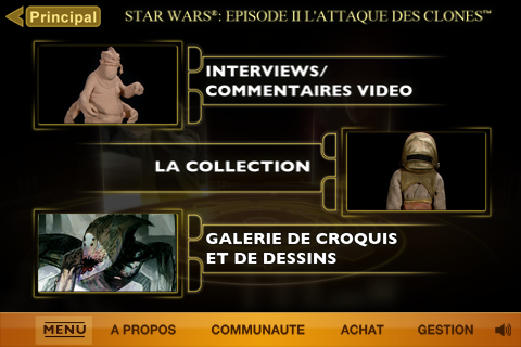 star wars appli iphone episode 2 menu