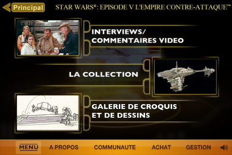 star wars appli iphone episode 5 menu