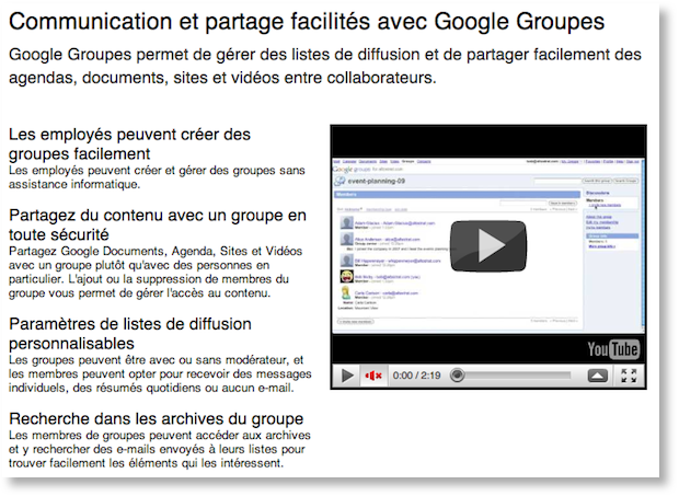 google apps groupes