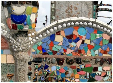 le mur des Watts Towers