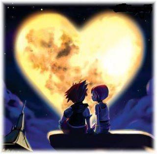 coeur lumineux et deux enfants