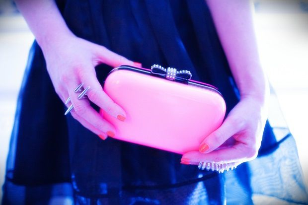 pink neon clutch and bow