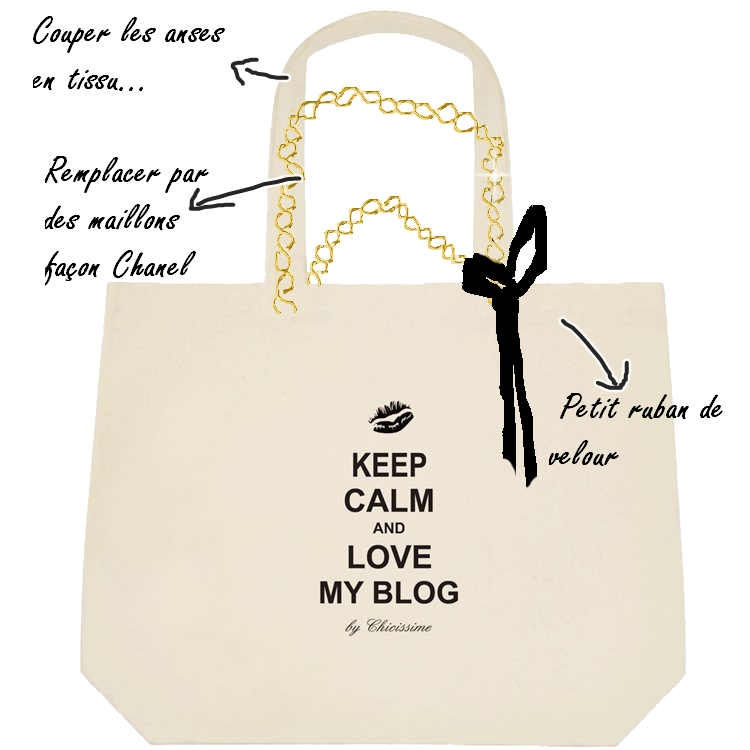 cabas-tote-canvas-chain-coco-bow-keep -calm-blog on