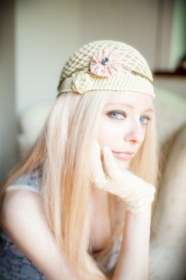 bonnet rochet et headband retro gatsby