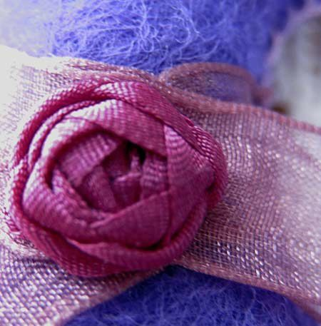 CHAT Rose - broderie au ruban