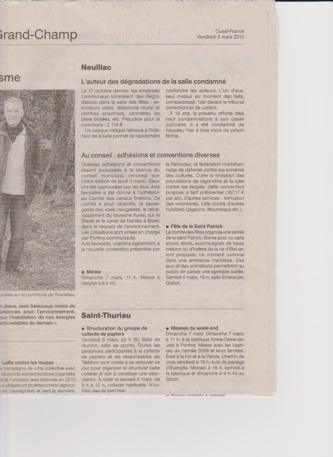 article ouest france Neulliac 05 03 2010