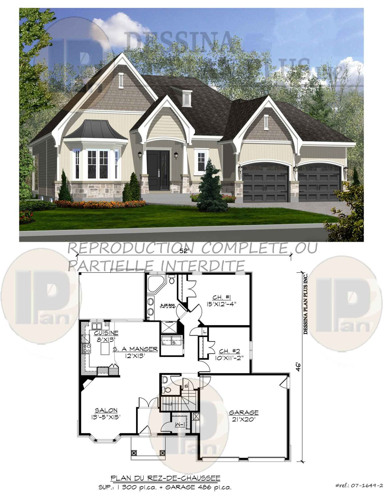 Plans vendre bungalow dessina plan plus inc for Plan maison bungalow avec garage