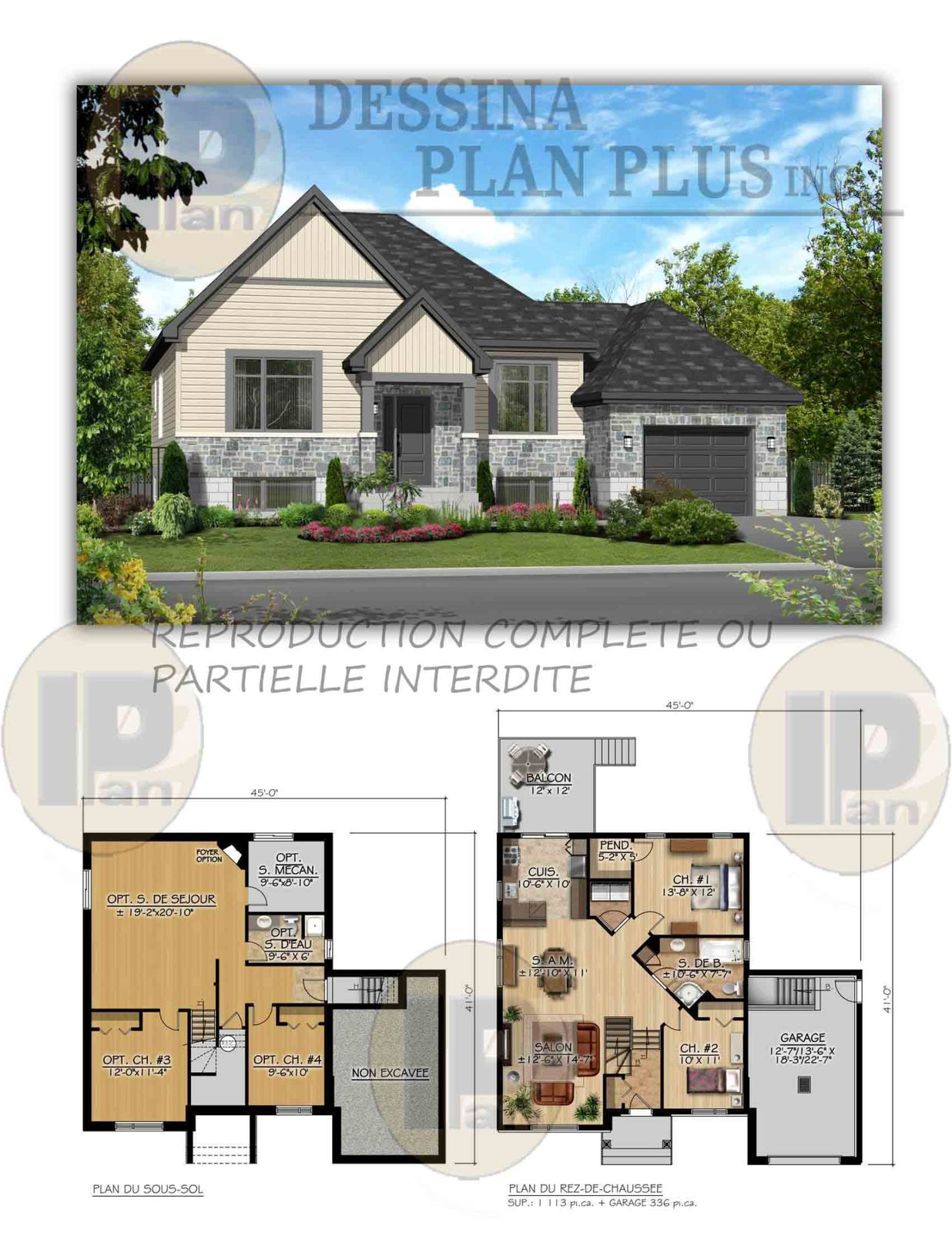 Plans vendre bungalow dessina plan plus inc for Plans architecturaux des maisons
