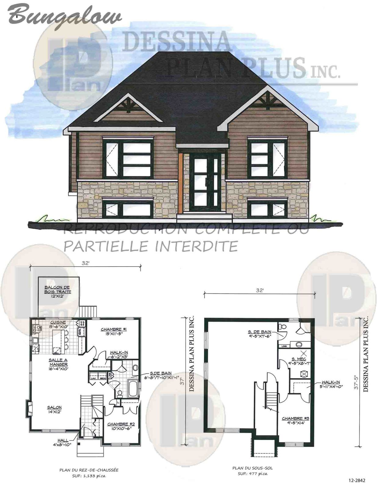 Plans vendre bungalow dessina plan plus inc for Architecture de maison gratuit