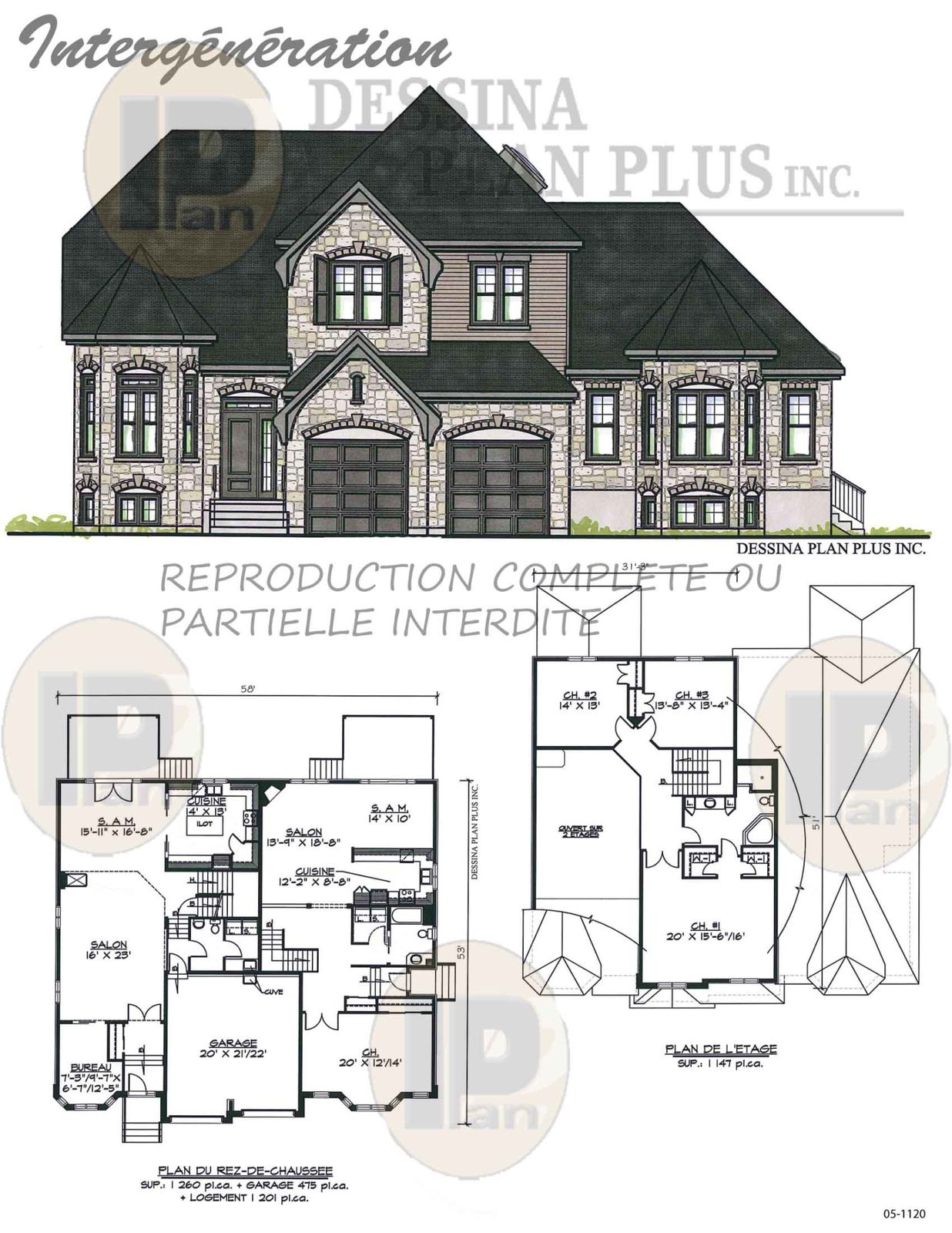 plan de maison contemporaine intergeneration