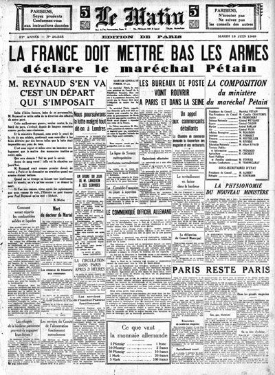 Journal le matin 18 juin 1940