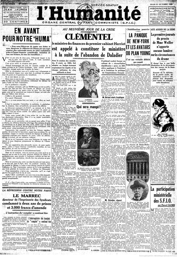 l humanite octobre 1929 krach
