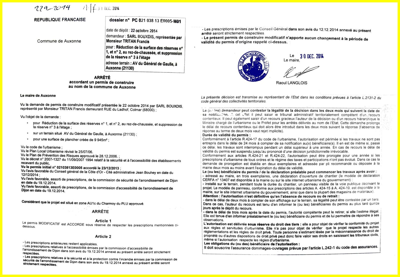 Documents chantecler for Permis construire modificatif