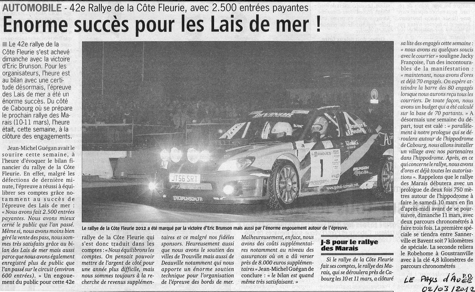 Coupure de presse journal le pays d 39 auge 2 mars 2012 tac sport events - Le journal le pays d auge ...