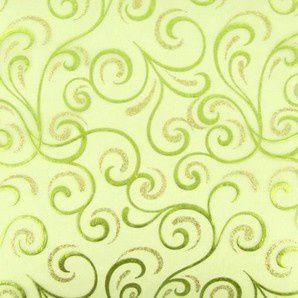 Chemin de table cheveux d´ange organza vert anis, paillettes or, dorures vert anis
