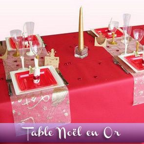 Deco table noel rouge et or - Table de noel rouge ...