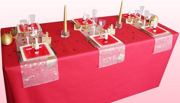 D coration de table no l rouge et or d corations f tes - Table de noel rouge et or ...