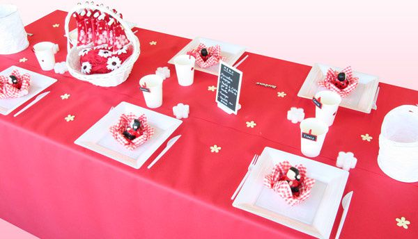 Table bapt me rouge et blanc dining art de la table for Decoration table bapteme